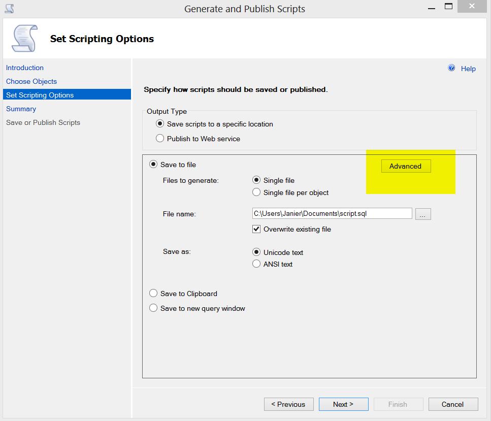 Generate Scripts Advanced option
