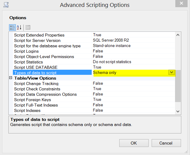 Types of data to script option